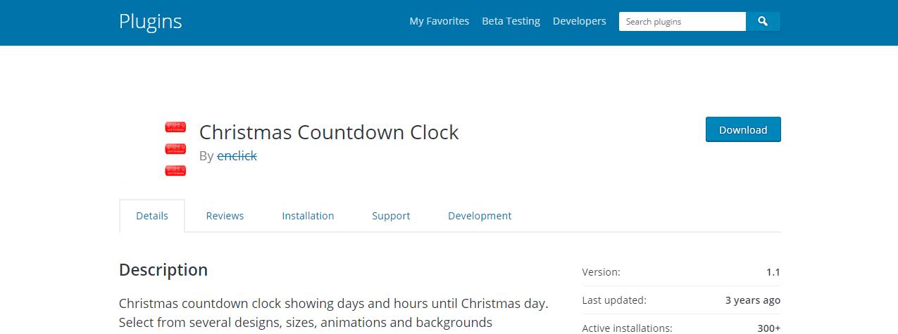 Christmas countdown clock WordPress Plugin